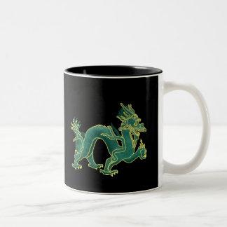 A Green Dragon with Gold Trim Two-Tone Mug