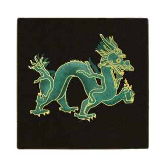A Green Dragon with Gold Trim Wood Coaster
