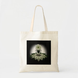 A Green Flower on Black Background Budget Tote Bag