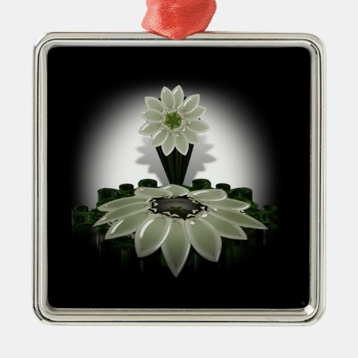 A Green Flower on Black Background Christmas Tree Ornaments