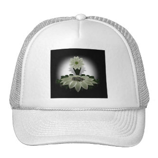 A Green Flower on Black Background Hat