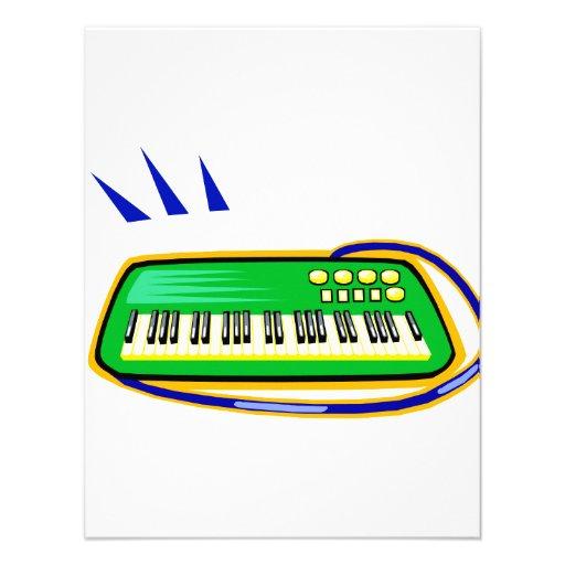 A green keytar with a blue strap graphic, custom invitations