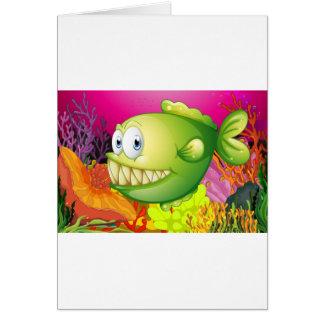 A green piranha greeting card
