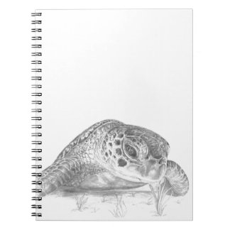 A Green Sea Turtle in Grayscale Spiral Notebook