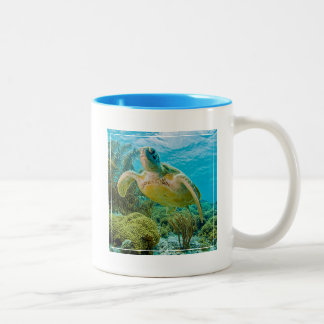 A Green Turtle On The Shallow Reefs Of Bonaire Two-Tone Coffee Mug
