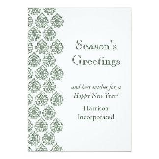 A Green Vintage Damask Holiday Card (corp) 13 Cm X 18 Cm Invitation Card