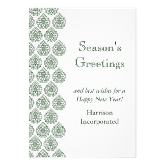 A Green Vintage Damask Holiday Card (corp)
