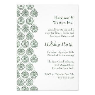 A Green Vintage Damask Holiday Invitation (corp) Invitation