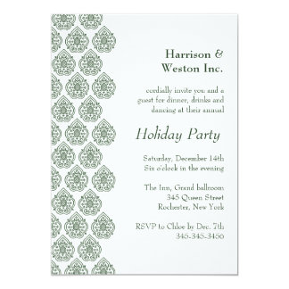 A Green Vintage Damask Holiday Invitation (corp)