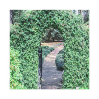 A Greenery Arch that leads to a Brick Pathway Art Canvas Print
