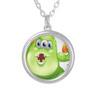 A greenslime monster with orange dumbbells round pendant necklace