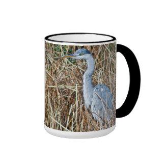 A Grey Heron waiting for a fish Mug