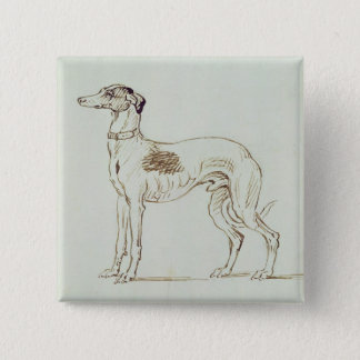 A Greyhound, Facing Left (pen & ink on paper) 15 Cm Square Badge