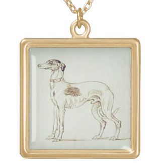 A Greyhound, Facing Left (pen & ink on paper) Gold Plated Necklace