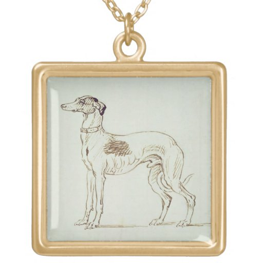 A Greyhound, Facing Left (pen & ink on paper) Pendants