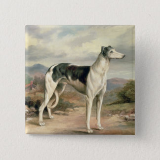 A Greyhound in a hilly landscape 15 Cm Square Badge