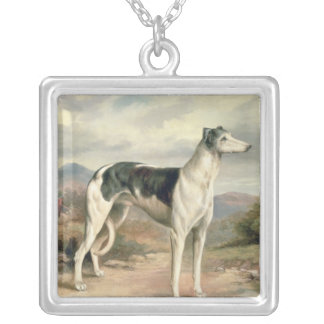 A Greyhound in a hilly landscape Silver Plated Necklace