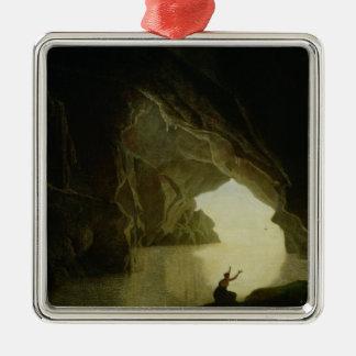 A Grotto in the Gulf of Salernum Silver-Colored Square Decoration