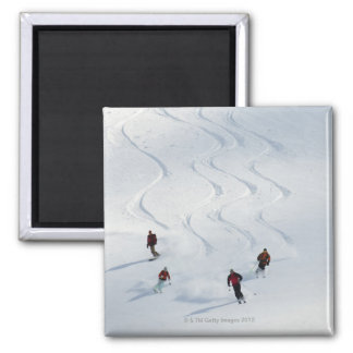 A group of backcountry skiers follow their guide square magnet