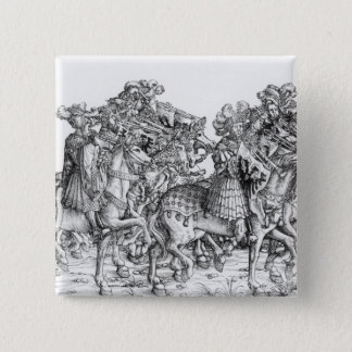 A group of mounted trumpeters 15 cm square badge