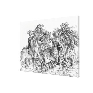 A group of mounted trumpeters canvas print