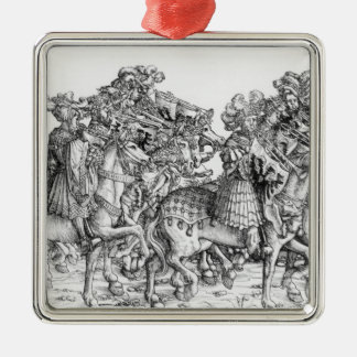 A group of mounted trumpeters Silver-Colored square decoration