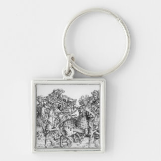 A group of mounted trumpeters Silver-Colored square key ring