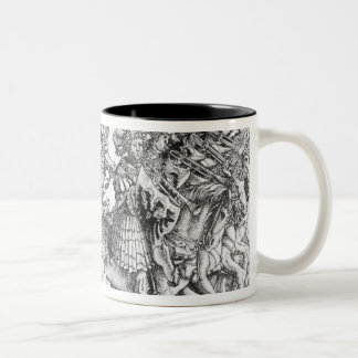 A group of mounted trumpeters Two-Tone coffee mug