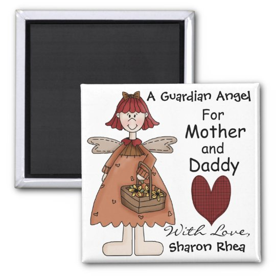 A Guardian Angel for You by SRF Square Magnet