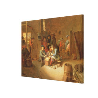 A Guardroom Interior with Soldiers playing Cards ( Stretched Canvas Print