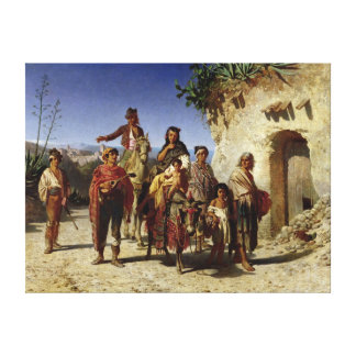 A Gypsy Family on the Road, c.1861 Canvas Print