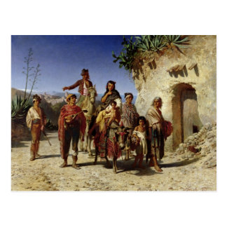 A Gypsy Family on the Road, c.1861 Postcard