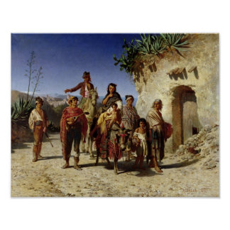 A Gypsy Family on the Road, c.1861 Poster