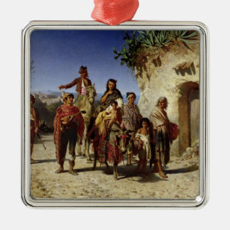 A Gypsy Family on the Road, c.1861 Silver-Colored Square Decoration