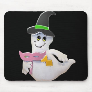 A HALLOWEEN GHOST WITH HAT- greeting card Mouse Pad