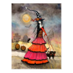 A Halloween Stroll Witch and Black Cats Art Postcards