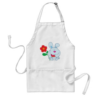 A Happy Bunny holds flower Aprons