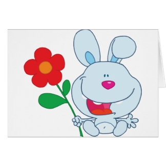 A Happy Bunny holds flower Greeting Cards