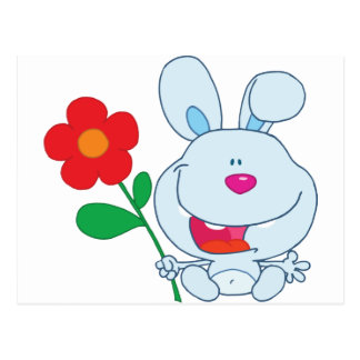 A Happy Bunny holds flower Post Cards