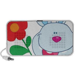 A Happy Bunny holds flower Laptop Speaker