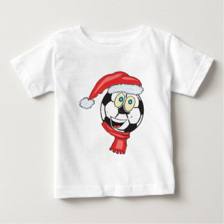 A happy christmas soccer ball wearing a santa hat baby T-Shirt