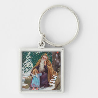 A Happy Christmas Time Father Christmas with Silver-Colored Square Key Ring