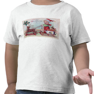 A Happy Christmas to YouBoy on a Sleigh Shirt