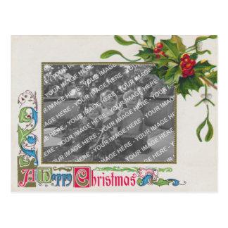 """A Happy Christmas"" Vintage Photo Frame Postcard"