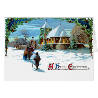 A Happy Christmas - Walking to Church in Snow Card
