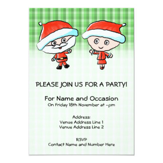A Happy Couple at Christmas. Mr and Mrs Claus. 5x7 Paper Invitation Card