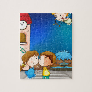A happy couple jigsaw puzzles