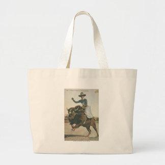 A Happy Cowboy on a Bucking Buffalo. Large Tote Bag