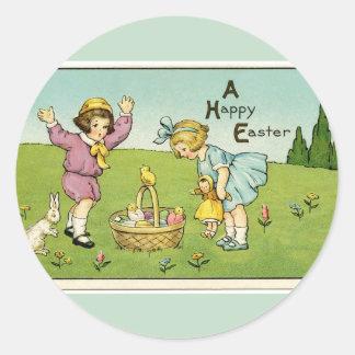 A Happy Easter Light Green Round Stickers Round Sticker