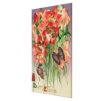 A Happy Easter with Women Head Flowers Canvas Print